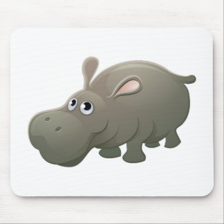 Hippo Animal Cartoon Character Mouse Pad