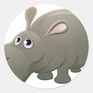 Hippo Animal Cartoon Character Round Sticker