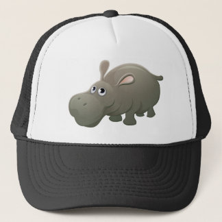 Hippo Animal Cartoon Character Trucker Hat