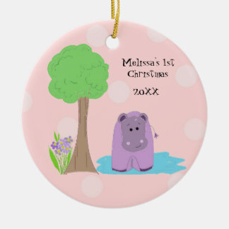Hippo Baby First Christmas Round Ceramic Ornament