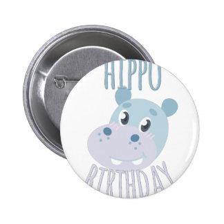 Hippo Birthday 2 Inch Round Button
