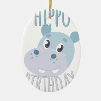 Hippo Birthday Ceramic Oval Ornament