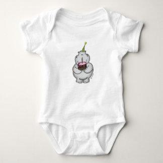 Hippo Birthday - Happy Birthday Baby Bodysuit