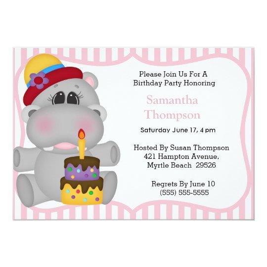 Hippo Birthday Invitations