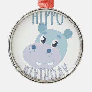 Hippo Birthday Silver-Colored Round Ornament
