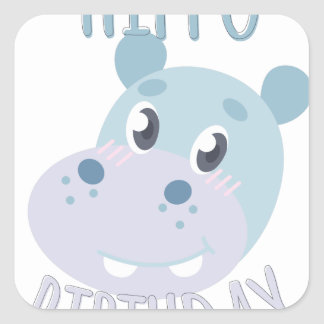 Hippo Birthday Square Sticker