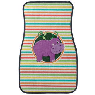 Hippo; Bright Rainbow Stripes Floor Mat