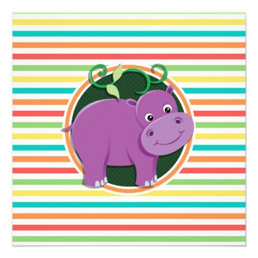 Hippo; Bright Rainbow Stripes Announcements