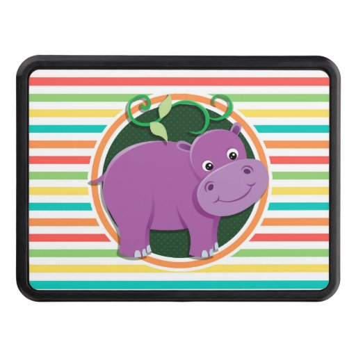 Hippo; Bright Rainbow Stripes Tow Hitch Cover