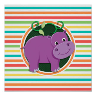 Hippo; Bright Rainbow Stripes Posters