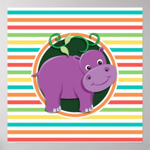 Hippo; Bright Rainbow Stripes Posters