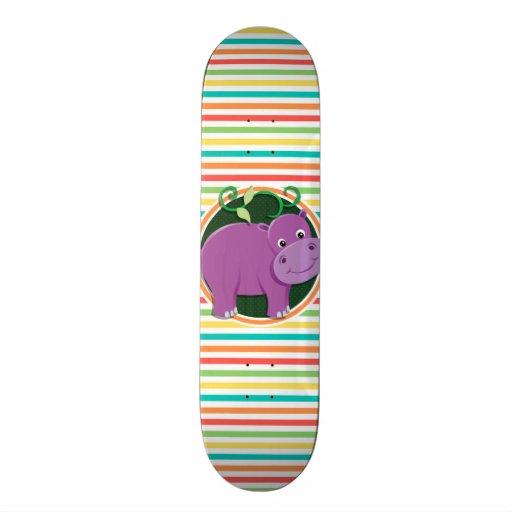 Hippo; Bright Rainbow Stripes Skate Board