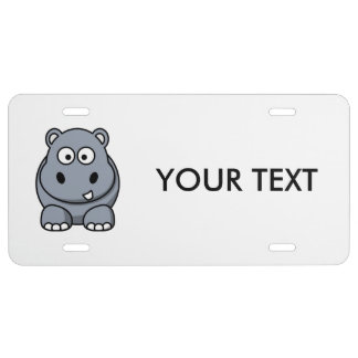 Hippo Cartoon Art License Plate