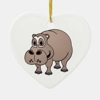 Hippo Cartoon Ceramic Heart Ornament