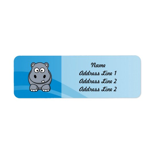 Hippo Cartoon With Blue Water Background