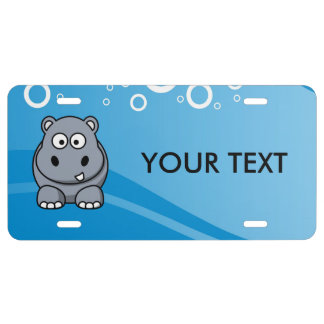 Hippo Cartoon With Blue Water Background License Plate