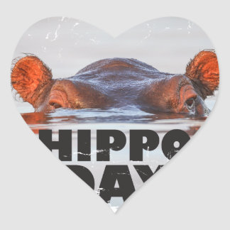 Hippo Day - 15th February - Appreciation Day Heart Sticker