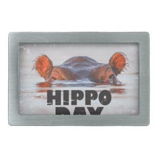 Hippo Day - 15th February - Appreciation Day Rectangular Belt Buckles
