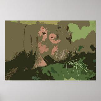 Hippo Deco Portrait Poster