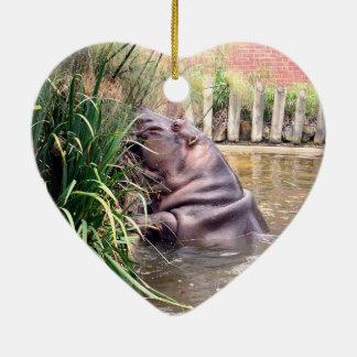 Hippo_Determination,_ Ceramic Heart Ornament