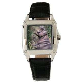 Hippo_Determination_Ladies_Square_Leather_Watch Wrist Watch