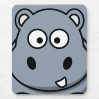 Hippo Face Mouse Pad