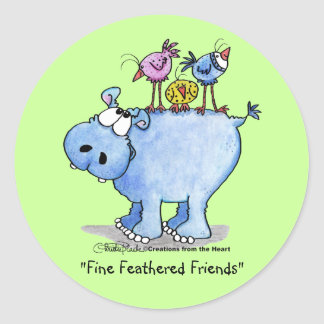 Hippo- Fine Feathered Friends Classic Round Sticker