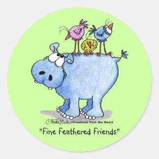 Hippo- Fine Feathered Friends Round Sticker