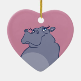 Hippo For Christmas Ceramic Heart Ornament