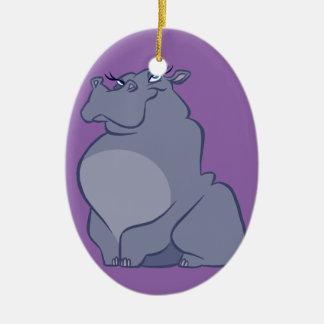 Hippo For Christmas Ceramic Ornament