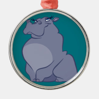 Hippo For Christmas Metal Ornament