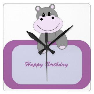 Hippo Happy Birthday Square Wall Clock