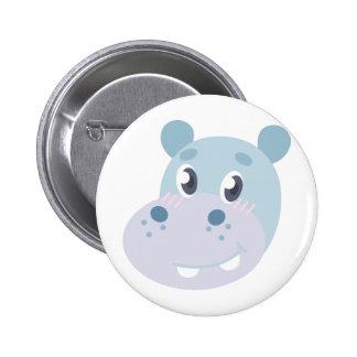 Hippo Head 2 Inch Round Button