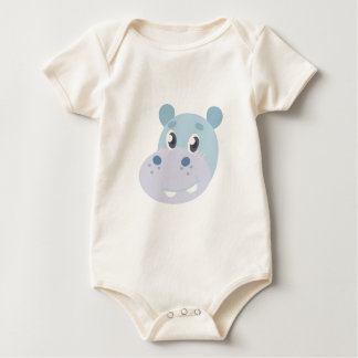 Hippo Head Baby Bodysuit