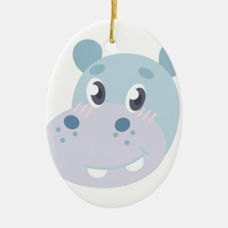Hippo Head Ceramic Oval Ornament
