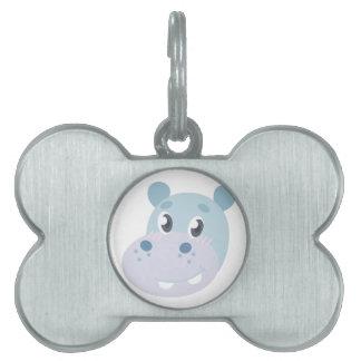 Hippo Head Pet Name Tag