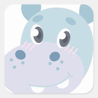 Hippo Head Square Sticker