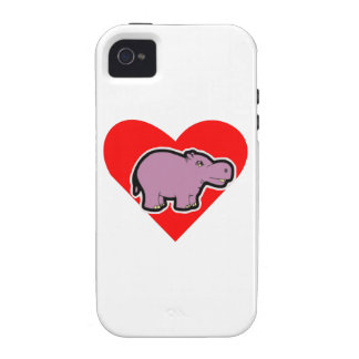 Hippo Heart Case-Mate iPhone 4 Cover