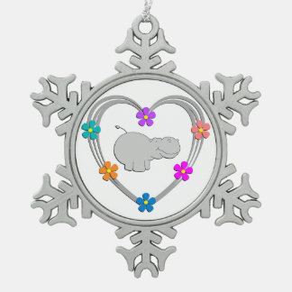 Hippo Heart Pewter Snowflake Ornament