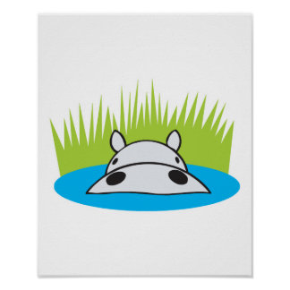 hippo hiding in water poster