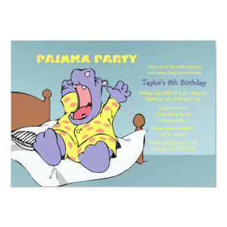 Hippo in Pajamas Invitation