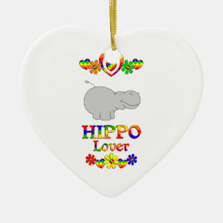 Hippo Lover Ceramic Heart Ornament