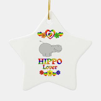 Hippo Lover Ceramic Star Ornament