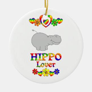 Hippo Lover Round Ceramic Ornament