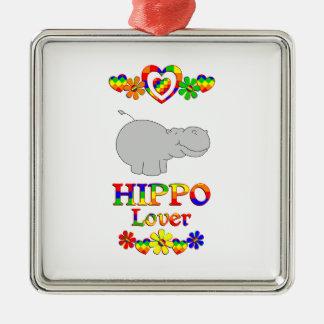 Hippo Lover Silver-Colored Square Ornament