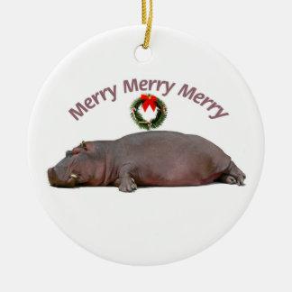 Hippo Merry Christmas Fun Ceramic Ornament
