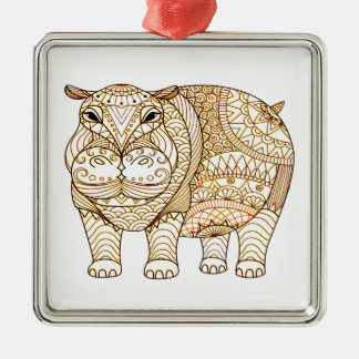 Hippo Metal Ornament