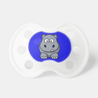 Hippo on a Blue Background Baby Pacifiers