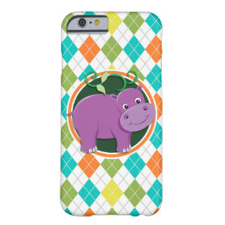 Hippo on Colorful Argyle Pattern Barely There iPhone 6 Case