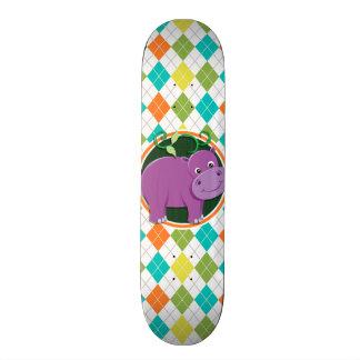 Hippo on Colorful Argyle Pattern Custom Skateboard